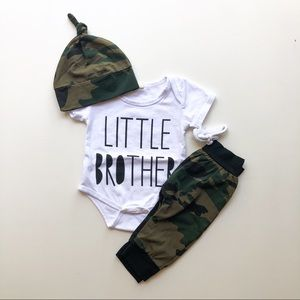 6 Months Baby Boy Camo 'Little Brother' Set